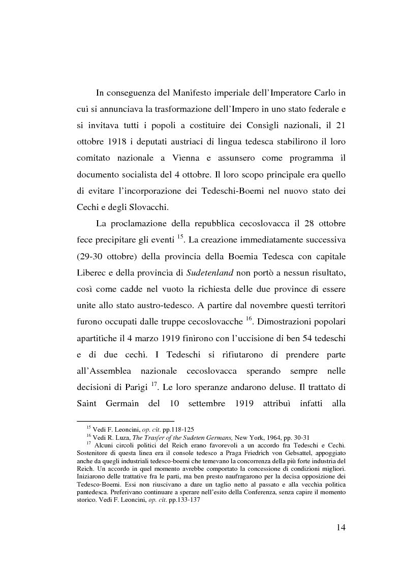 Anteprima della tesi: La minoranza tedesca in Cecoslovacchia e i suoi rapporti con la Germania nazista (1933-1939), Pagina 10