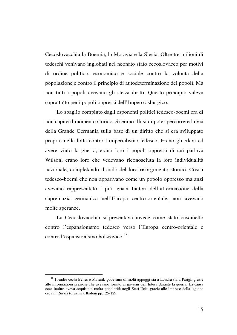 Anteprima della tesi: La minoranza tedesca in Cecoslovacchia e i suoi rapporti con la Germania nazista (1933-1939), Pagina 11