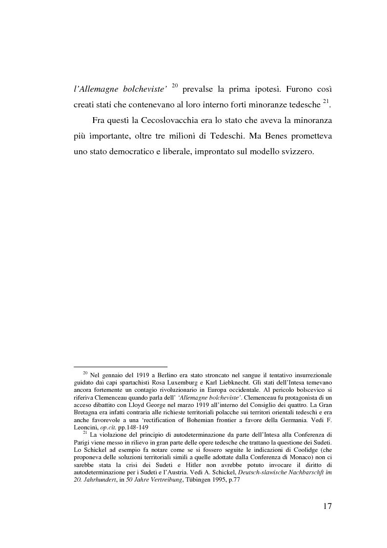 Anteprima della tesi: La minoranza tedesca in Cecoslovacchia e i suoi rapporti con la Germania nazista (1933-1939), Pagina 13