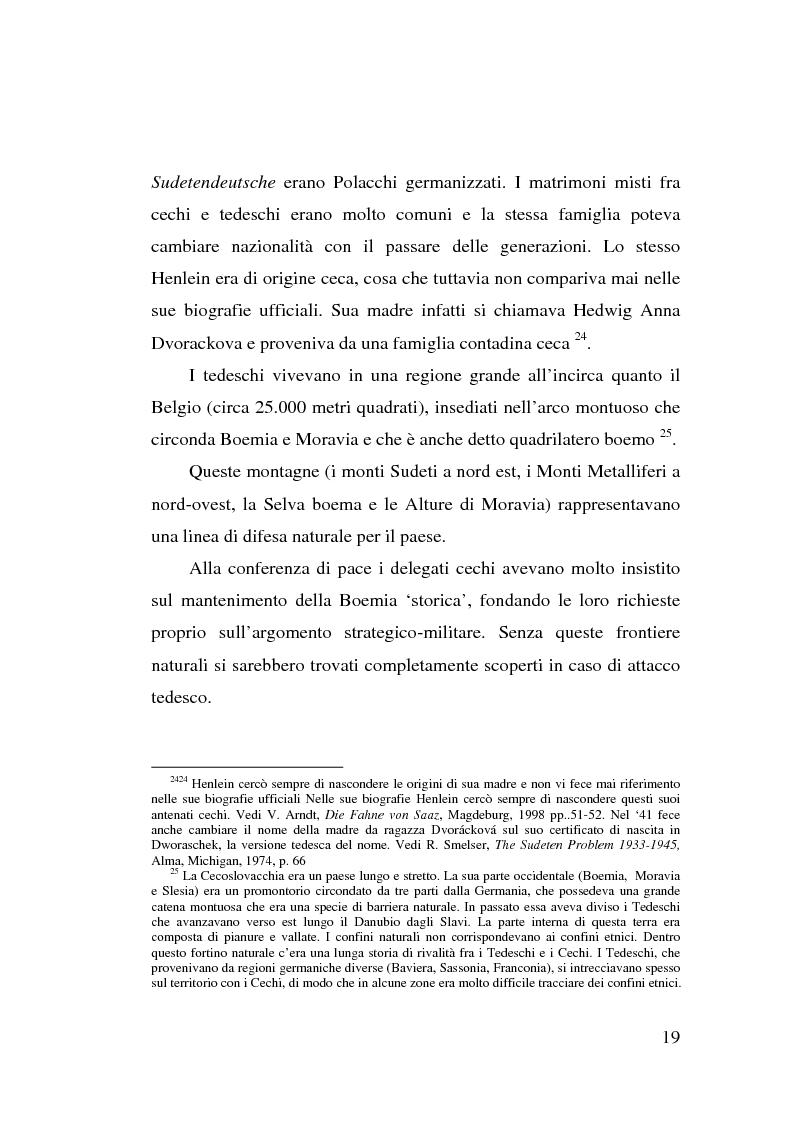 Anteprima della tesi: La minoranza tedesca in Cecoslovacchia e i suoi rapporti con la Germania nazista (1933-1939), Pagina 15