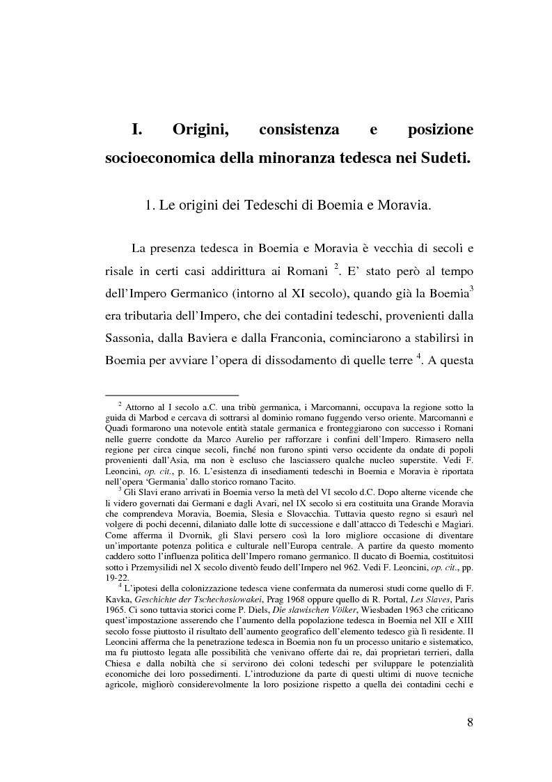 Anteprima della tesi: La minoranza tedesca in Cecoslovacchia e i suoi rapporti con la Germania nazista (1933-1939), Pagina 4