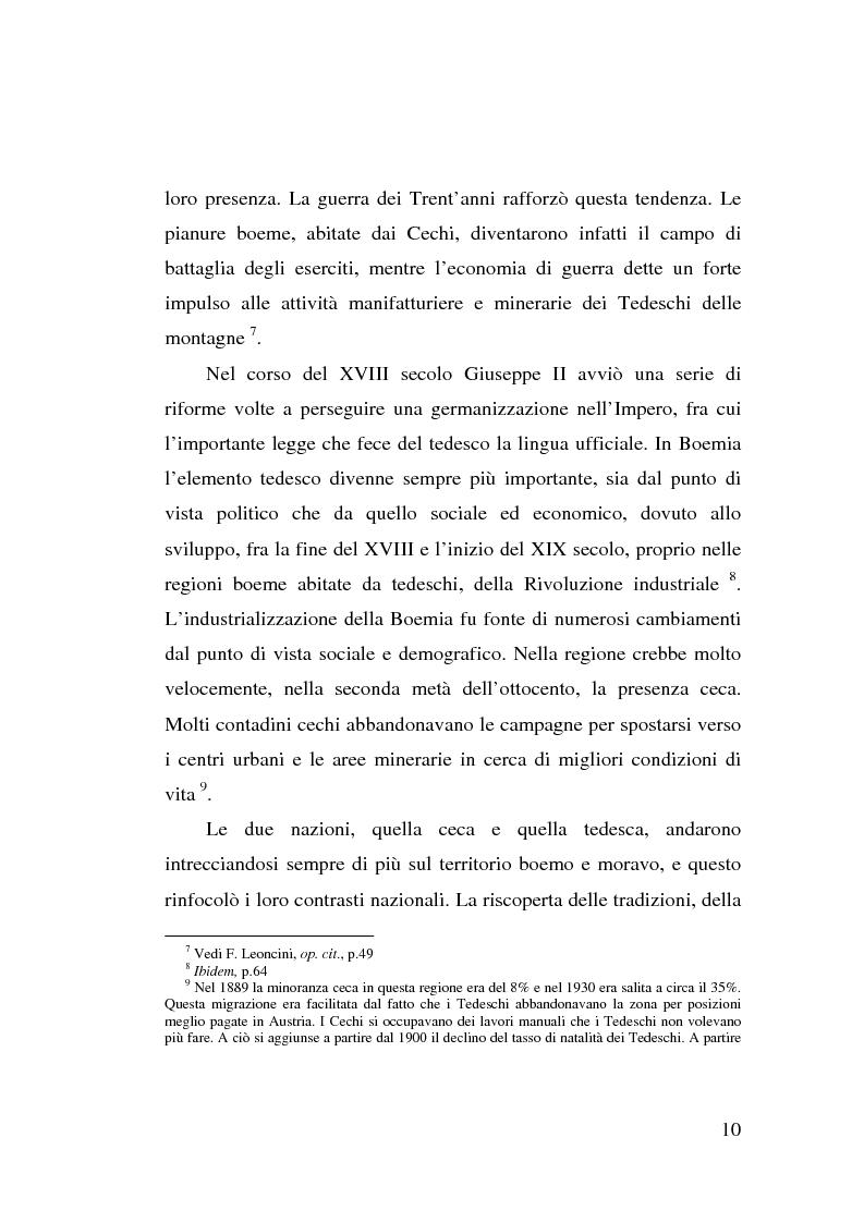 Anteprima della tesi: La minoranza tedesca in Cecoslovacchia e i suoi rapporti con la Germania nazista (1933-1939), Pagina 6