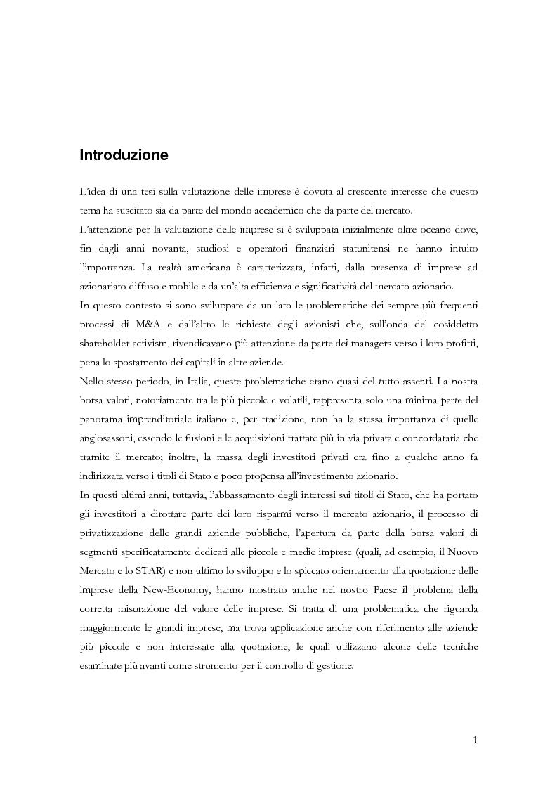 Anteprima della tesi: La determinazione del valore delle imprese: dai metodi tradizionali a quelli più innovativi, Pagina 1