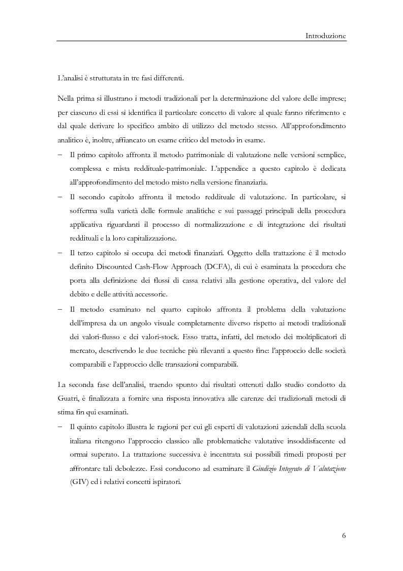 Anteprima della tesi: La determinazione del valore delle imprese: dai metodi tradizionali a quelli più innovativi, Pagina 6