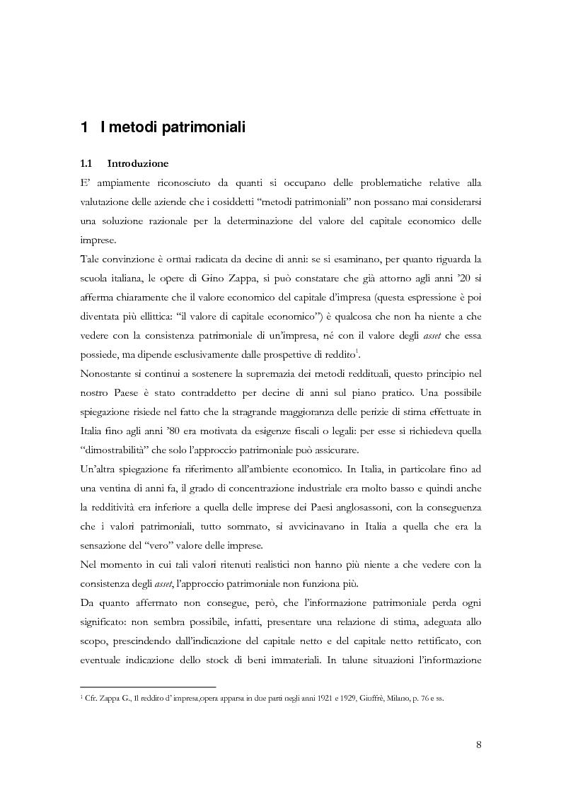 Anteprima della tesi: La determinazione del valore delle imprese: dai metodi tradizionali a quelli più innovativi, Pagina 8