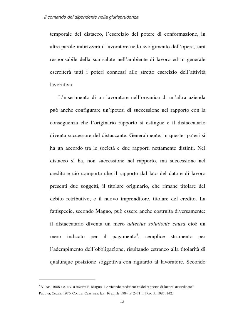 Anteprima della tesi: Il comando del dipendente nella giurisprudenza, Pagina 10