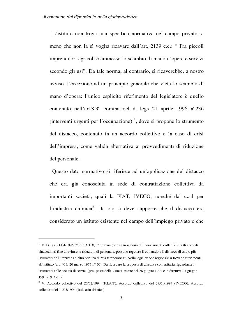 Anteprima della tesi: Il comando del dipendente nella giurisprudenza, Pagina 2