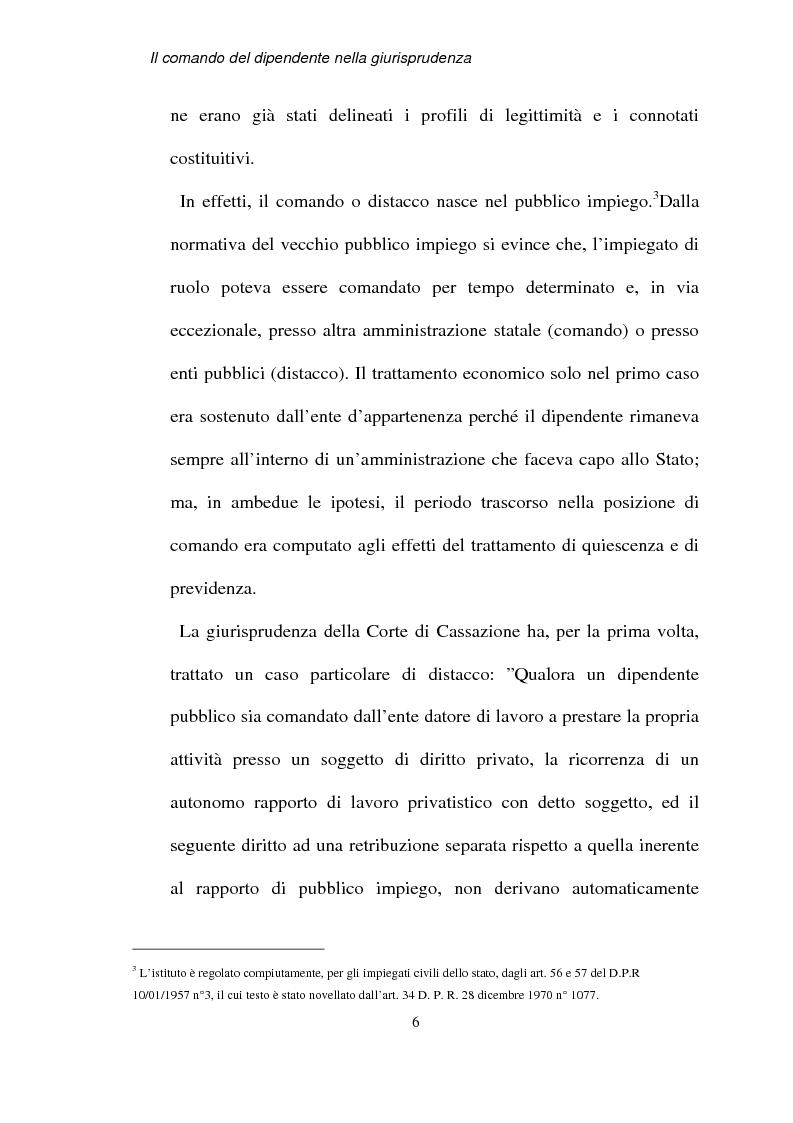 Anteprima della tesi: Il comando del dipendente nella giurisprudenza, Pagina 3