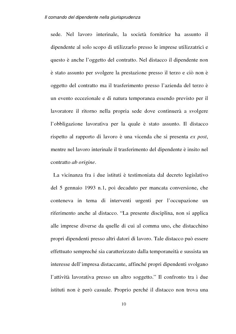 Anteprima della tesi: Il comando del dipendente nella giurisprudenza, Pagina 7