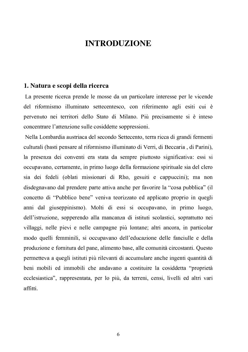Anteprima della tesi: La soppressione dei conventi e dei monasteri nella Lombardia austriaca dai documenti del carteggio ufficiale (1763- 1790), Pagina 1