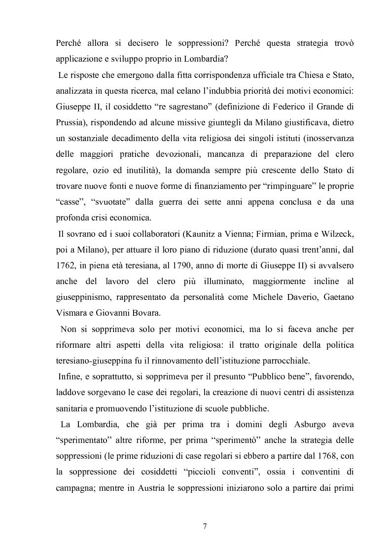 Anteprima della tesi: La soppressione dei conventi e dei monasteri nella Lombardia austriaca dai documenti del carteggio ufficiale (1763- 1790), Pagina 2