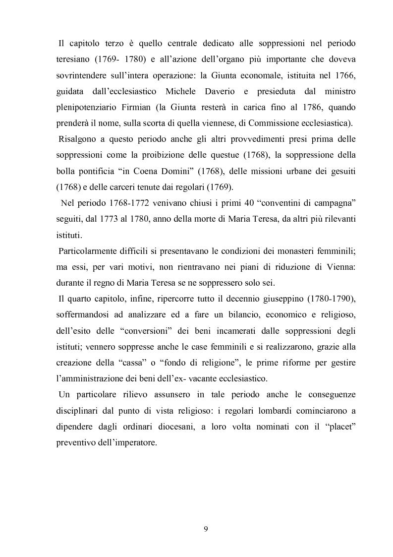 Anteprima della tesi: La soppressione dei conventi e dei monasteri nella Lombardia austriaca dai documenti del carteggio ufficiale (1763- 1790), Pagina 4