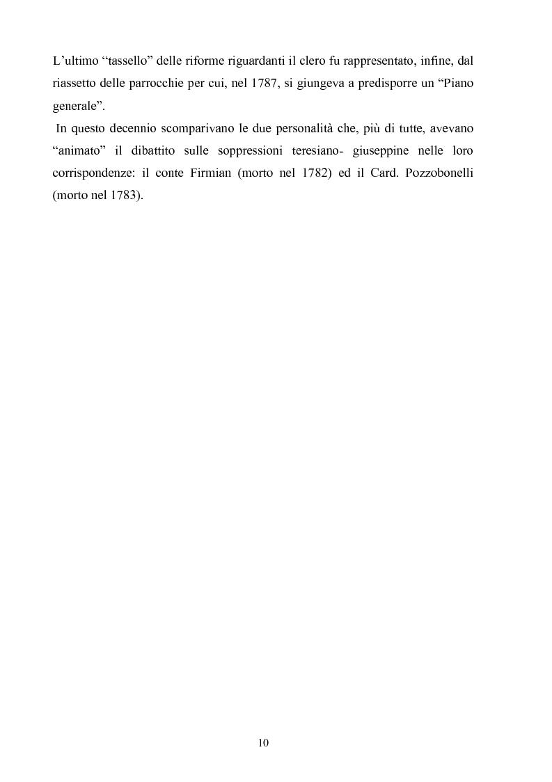 Anteprima della tesi: La soppressione dei conventi e dei monasteri nella Lombardia austriaca dai documenti del carteggio ufficiale (1763- 1790), Pagina 5
