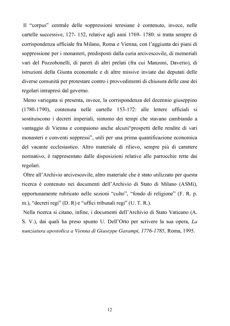 Anteprima della tesi: La soppressione dei conventi e dei monasteri nella Lombardia austriaca dai documenti del carteggio ufficiale (1763- 1790), Pagina 7