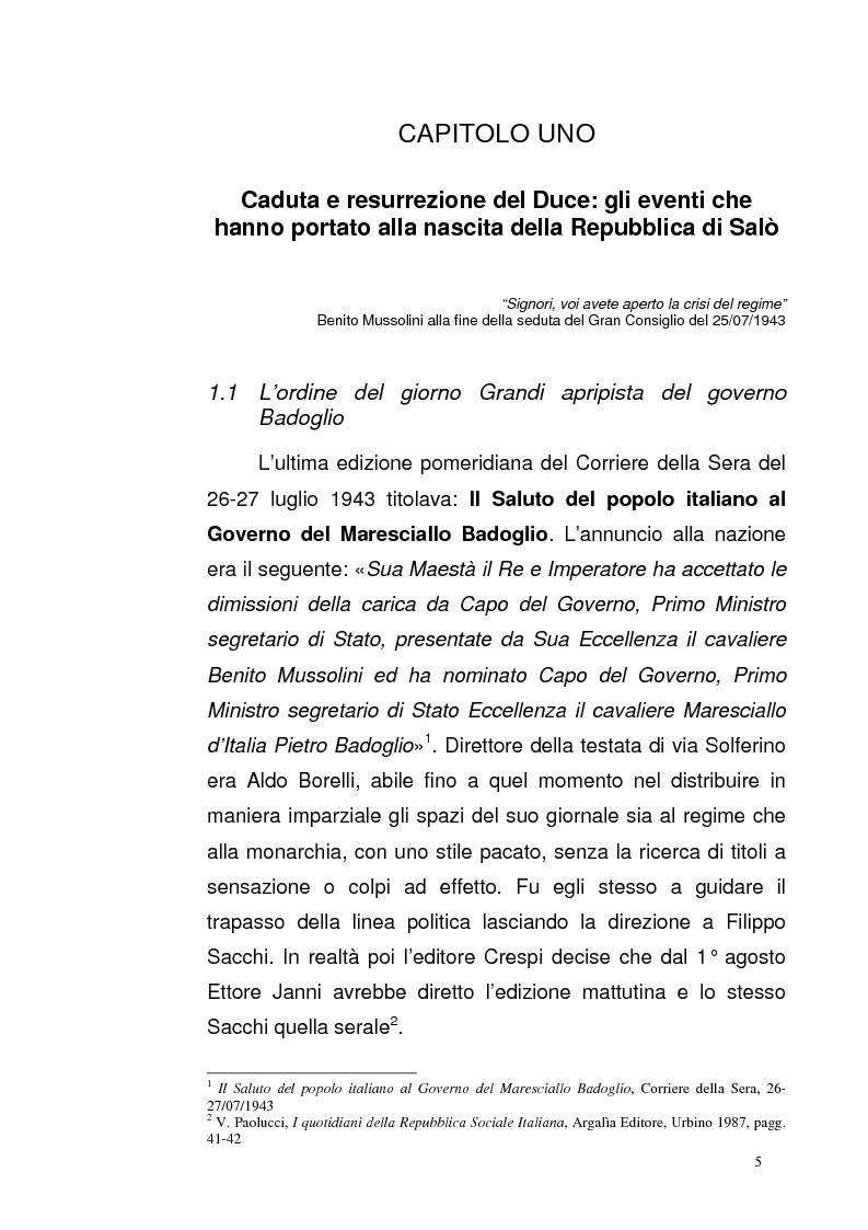 Anteprima della tesi: La Repubblica di Salò attraverso le pagine del Corriere della Sera: gli eventi, le cronache, i commenti, Pagina 4