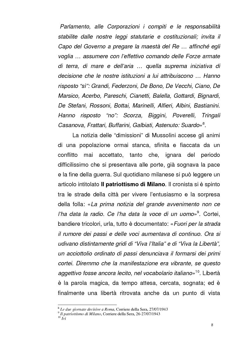 Anteprima della tesi: La Repubblica di Salò attraverso le pagine del Corriere della Sera: gli eventi, le cronache, i commenti, Pagina 7