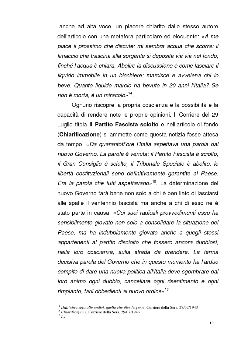 Anteprima della tesi: La Repubblica di Salò attraverso le pagine del Corriere della Sera: gli eventi, le cronache, i commenti, Pagina 9