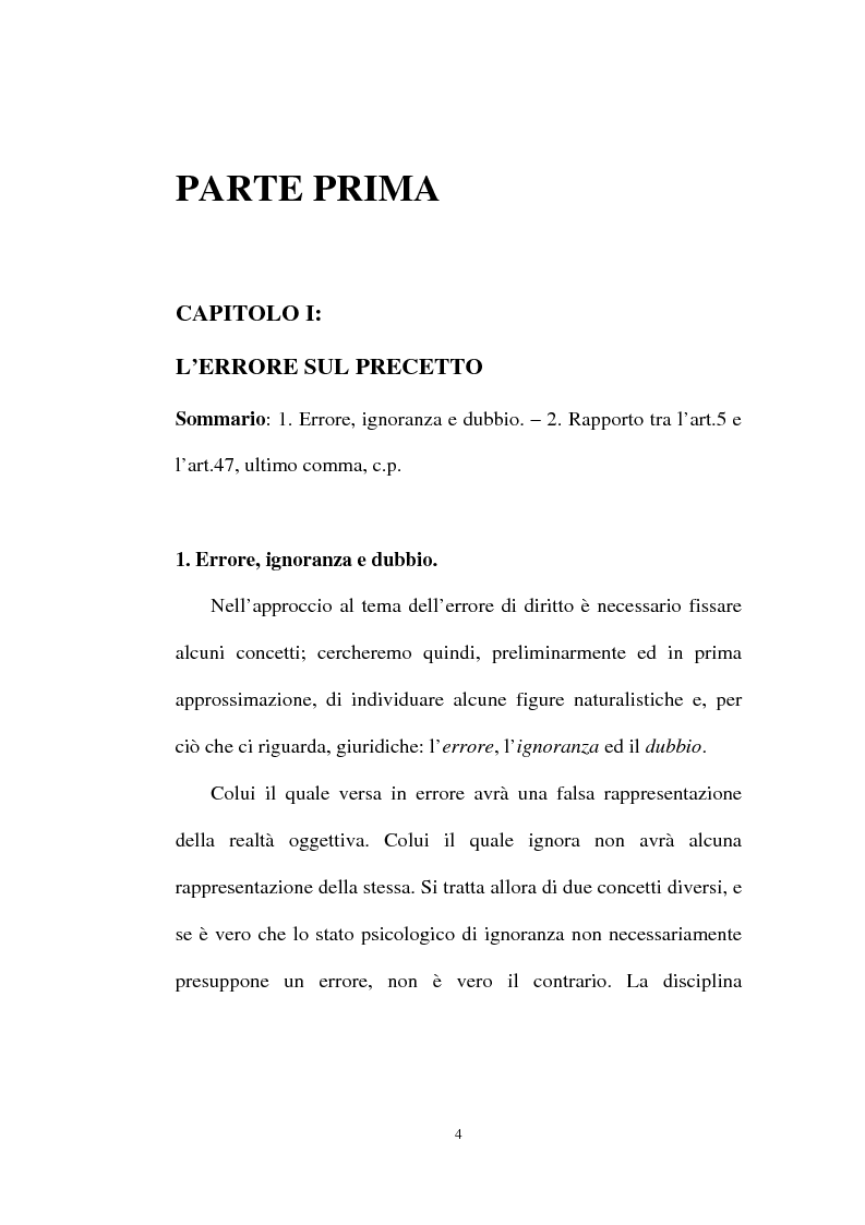Anteprima della tesi: Ignorantia legis scusabile ed inescusabile. Orientamenti dottrinari e giurisprudenziali con particolare riferimento al settore ambientale, Pagina 1