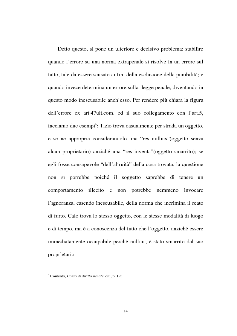 Anteprima della tesi: Ignorantia legis scusabile ed inescusabile. Orientamenti dottrinari e giurisprudenziali con particolare riferimento al settore ambientale, Pagina 11