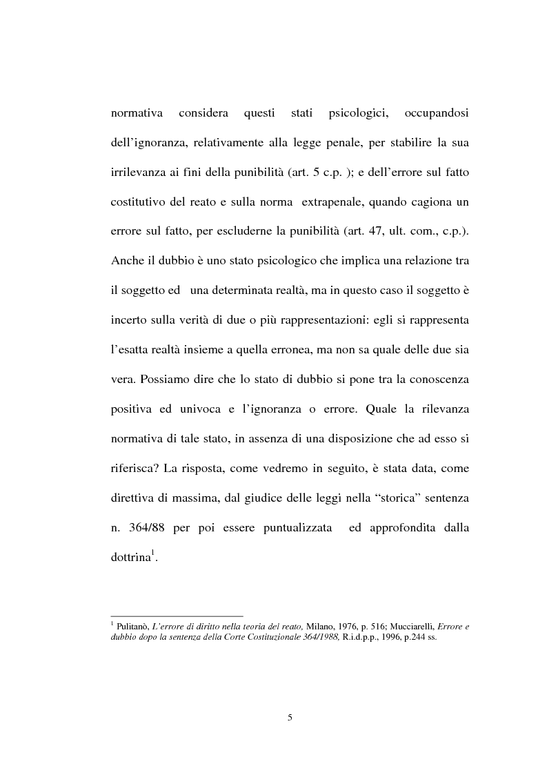 Anteprima della tesi: Ignorantia legis scusabile ed inescusabile. Orientamenti dottrinari e giurisprudenziali con particolare riferimento al settore ambientale, Pagina 2