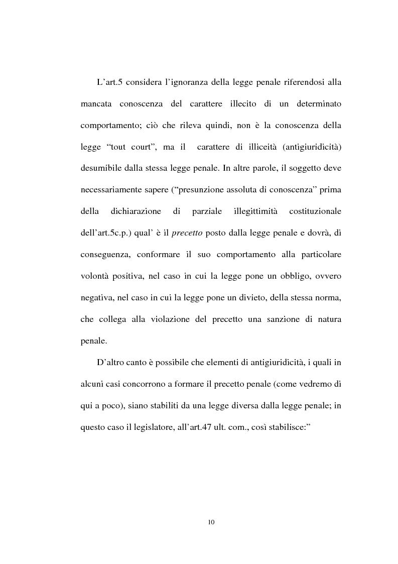 Anteprima della tesi: Ignorantia legis scusabile ed inescusabile. Orientamenti dottrinari e giurisprudenziali con particolare riferimento al settore ambientale, Pagina 7