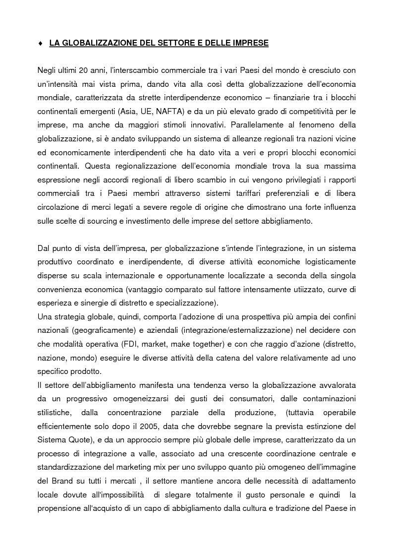 Anteprima della tesi: Internazionalizzazione e delocalizzazione globale nel settore abbigliamento: le opportunità in Asia, Pagina 3