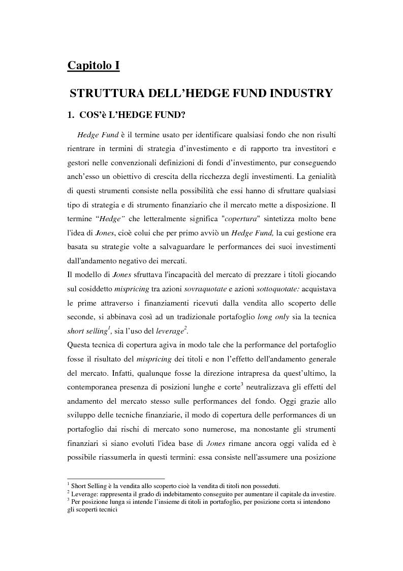 Anteprima della tesi: Hedge fund: profili peculiari di un investimento alternativo, Pagina 1