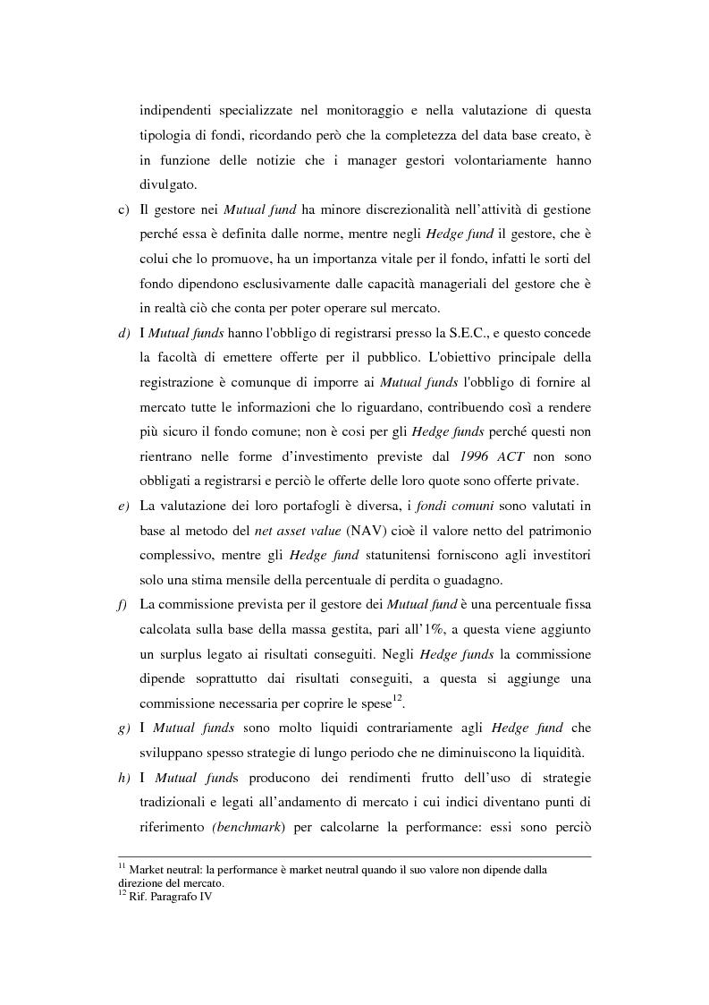 Anteprima della tesi: Hedge fund: profili peculiari di un investimento alternativo, Pagina 14