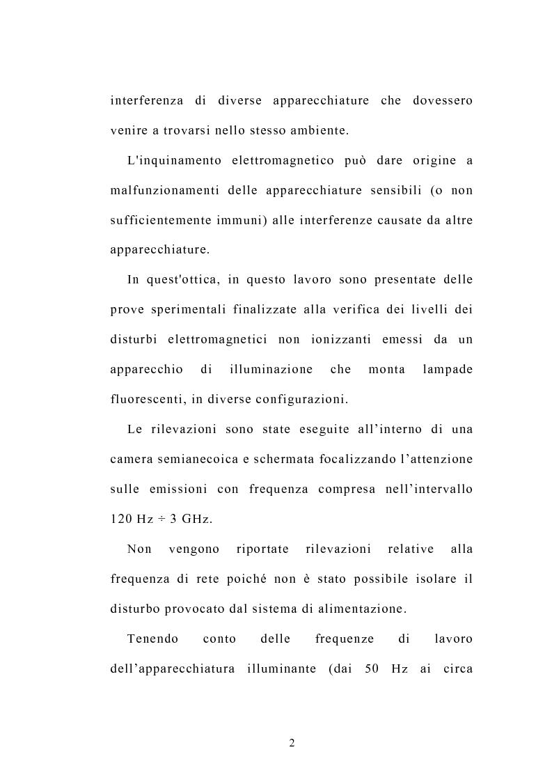 Anteprima della tesi: Prove sperimentali di emissioni di campo elettromagnetico prodotto da apparecchi illuminanti con lampade fluorescenti. Andamento del campo, Pagina 2