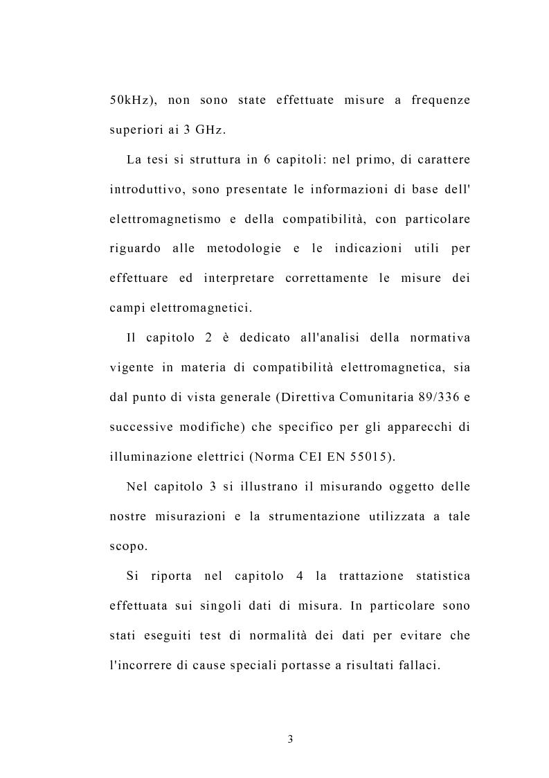 Anteprima della tesi: Prove sperimentali di emissioni di campo elettromagnetico prodotto da apparecchi illuminanti con lampade fluorescenti. Andamento del campo, Pagina 3