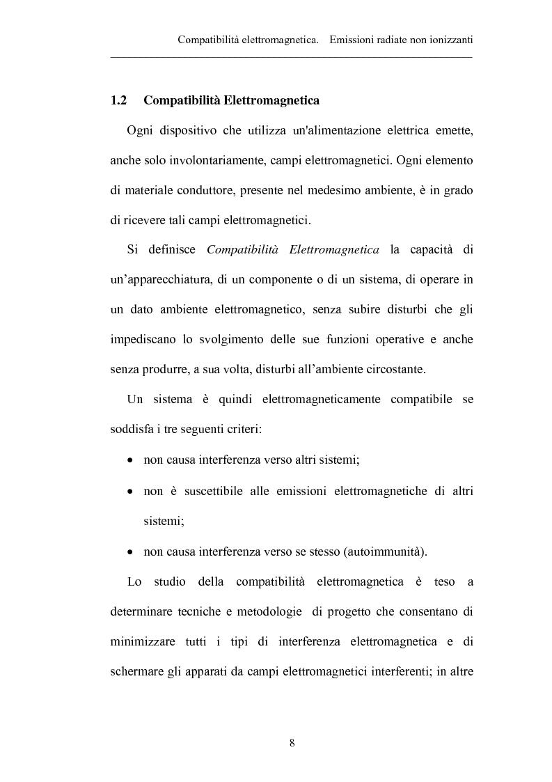 Anteprima della tesi: Prove sperimentali di emissioni di campo elettromagnetico prodotto da apparecchi illuminanti con lampade fluorescenti. Andamento del campo, Pagina 8