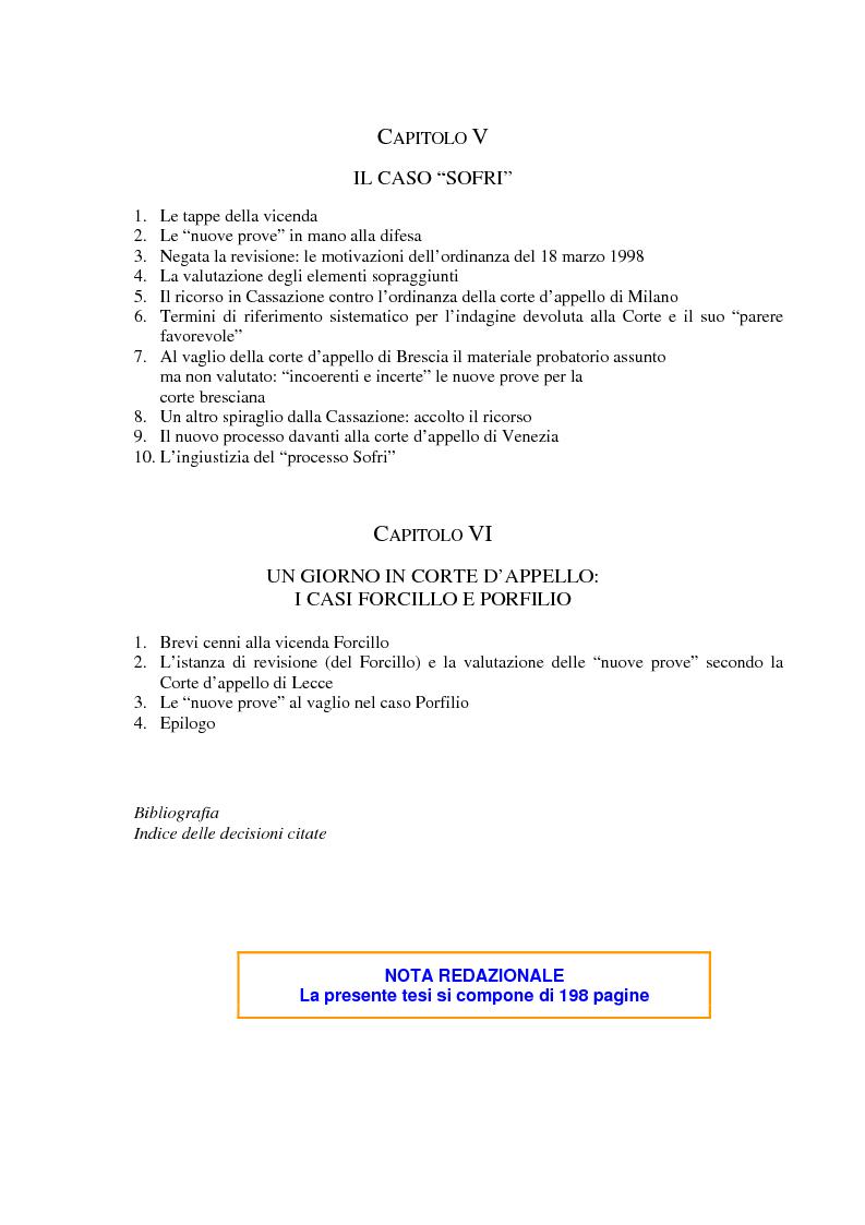 Indice della tesi: Il concetto di ''nuove prove'' ai fini della revisione, Pagina 3