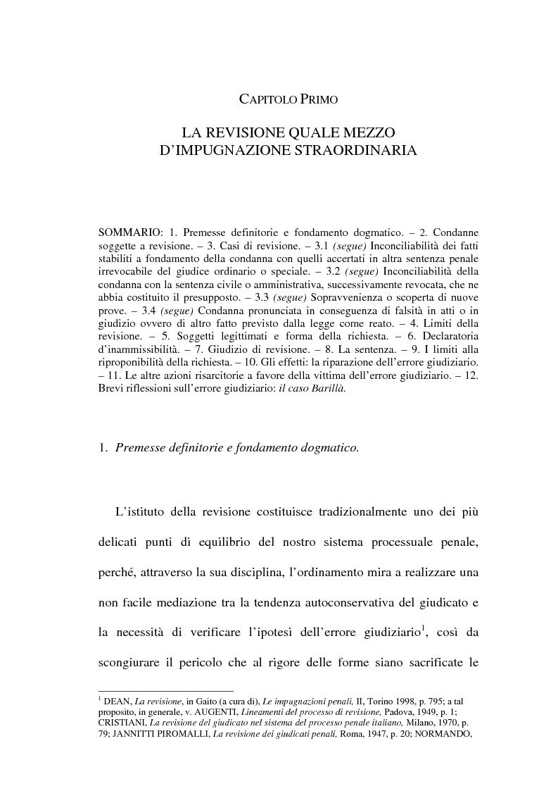 Anteprima della tesi: Il concetto di ''nuove prove'' ai fini della revisione, Pagina 1