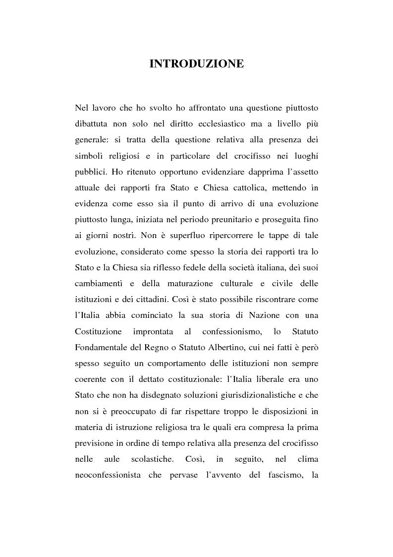 Anteprima della tesi: La presenza del crocifisso nei luoghi pubblici, Pagina 1