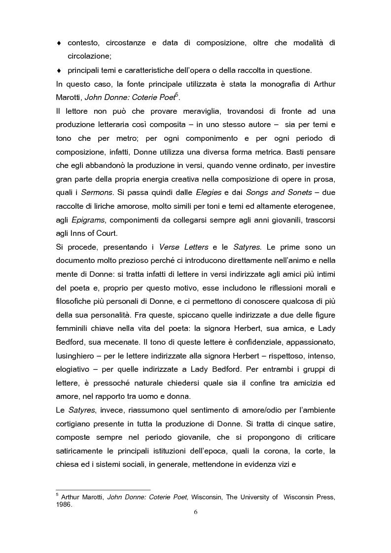 Anteprima della tesi: La poetica di John Donne (1572-1631) nei Songs and Sonets, Pagina 3