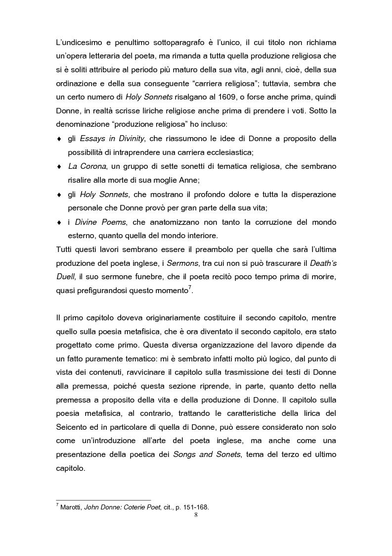 Anteprima della tesi: La poetica di John Donne (1572-1631) nei Songs and Sonets, Pagina 5