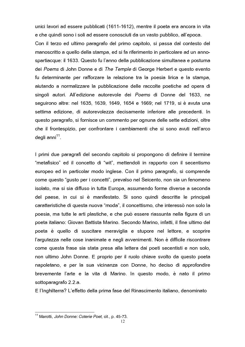 Anteprima della tesi: La poetica di John Donne (1572-1631) nei Songs and Sonets, Pagina 9