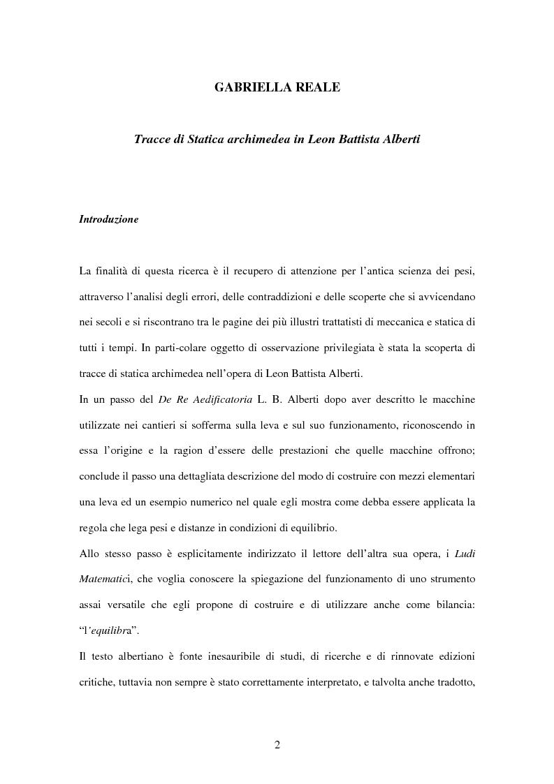 Anteprima della tesi: Tracce di statica archimedea in L. B. Alberti, Pagina 1