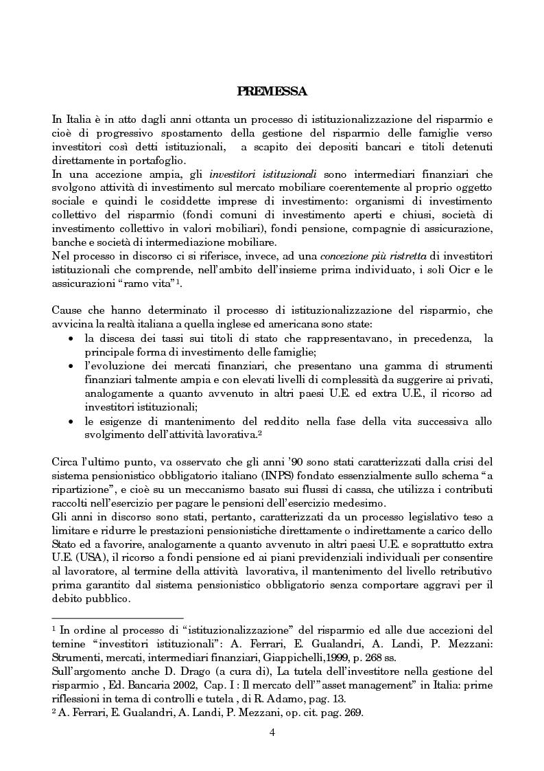 Anteprima della tesi: Linee evolutive del mercato finanziario italiano: fondi comuni di investimento, fondi pensione e piani pensionistici individuali. Regolamentazione e controlli, Pagina 1