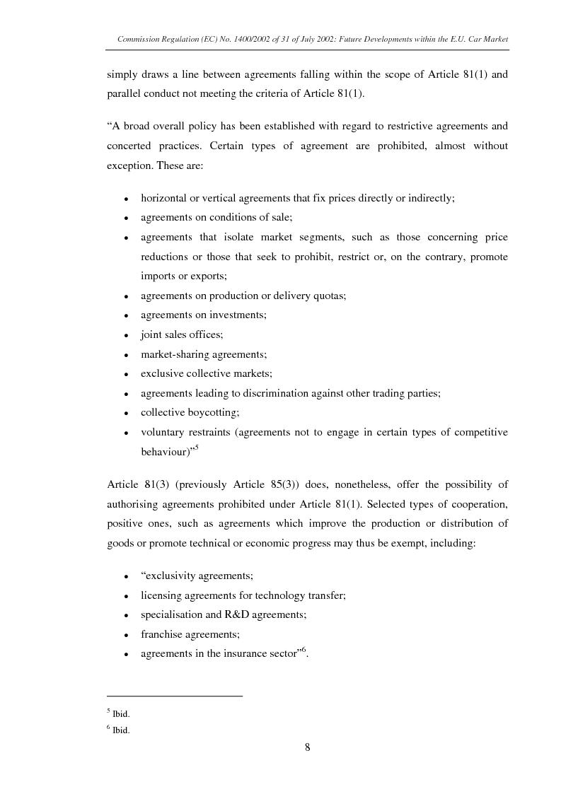 Anteprima della tesi: Commission Regulation (EC) No. 1400/2002 of 31 July 2002: Future developments within the E.U. car market., Pagina 6