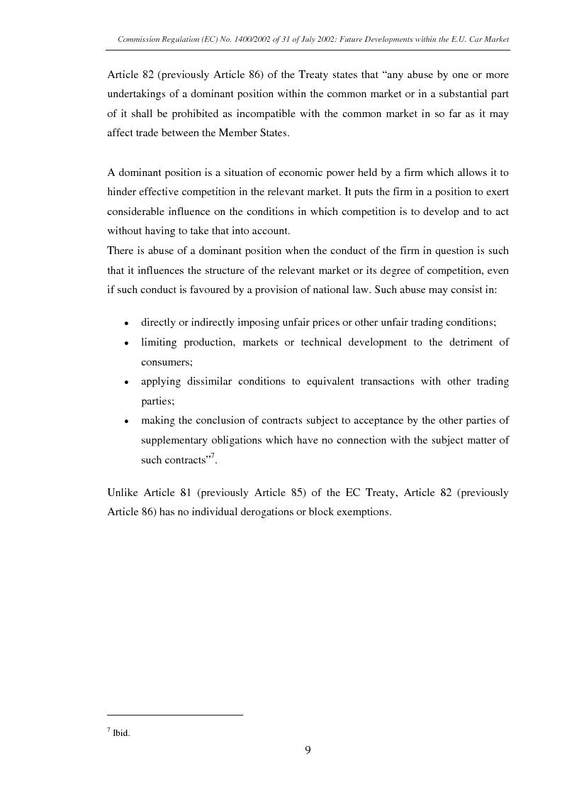 Anteprima della tesi: Commission Regulation (EC) No. 1400/2002 of 31 July 2002: Future developments within the E.U. car market., Pagina 7