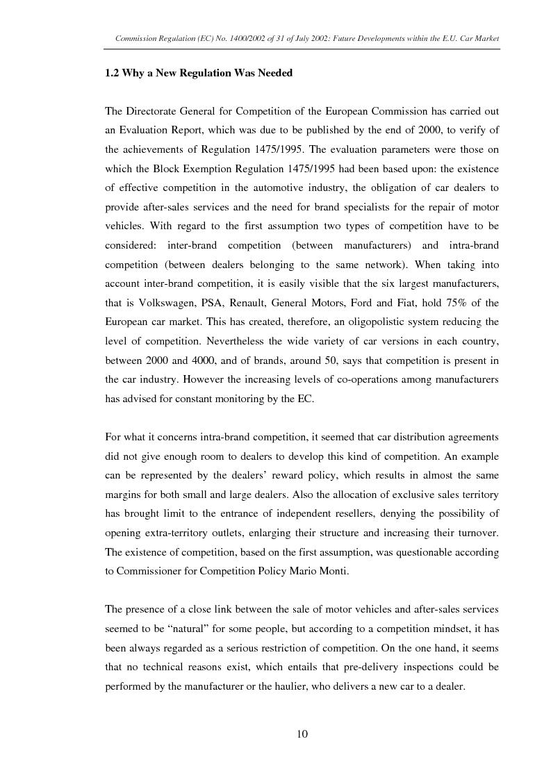 Anteprima della tesi: Commission Regulation (EC) No. 1400/2002 of 31 July 2002: Future developments within the E.U. car market., Pagina 8