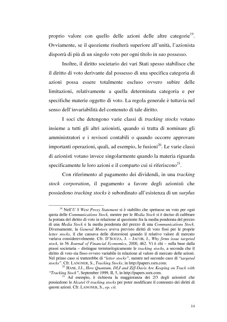 Anteprima della tesi: Azioni correlate e tracking stocks, Pagina 14