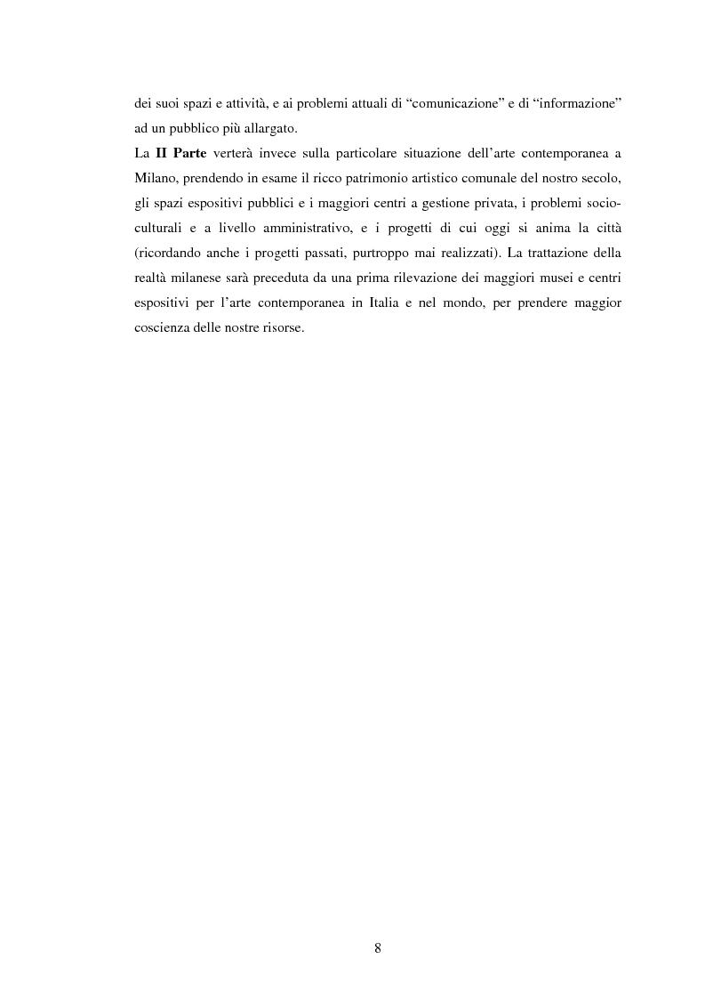 Anteprima della tesi: Milano conserva il patrimonio artistico contemporaneo? Un orientamento al panorama italiano ed estero, Pagina 5