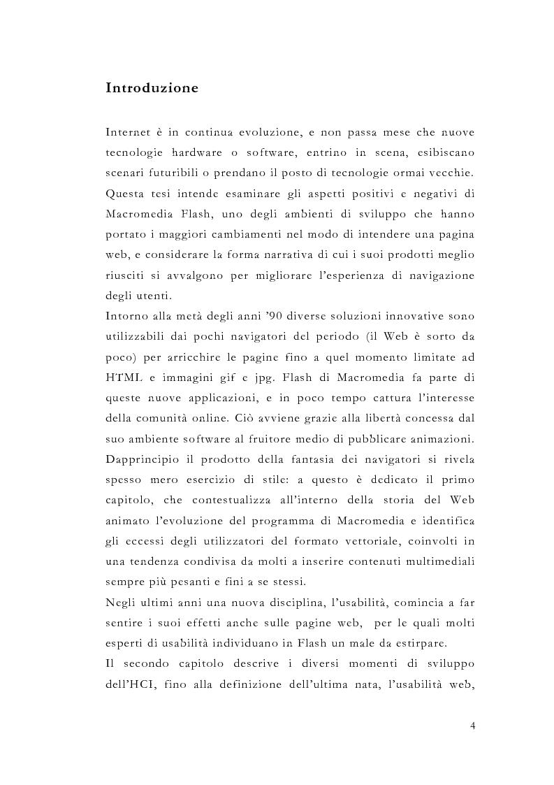 Anteprima della tesi: Macromedia Flash: strumento per lo sviluppo della narrazione interattiva nel Web, Pagina 1