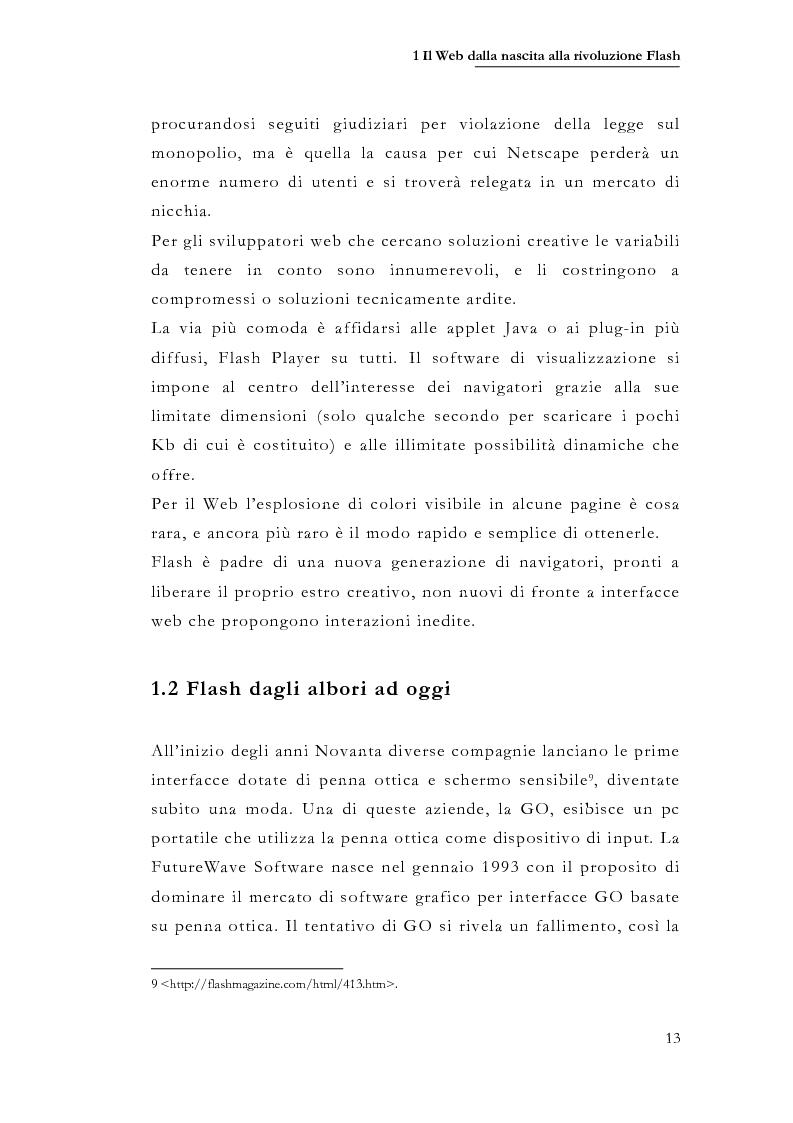 Anteprima della tesi: Macromedia Flash: strumento per lo sviluppo della narrazione interattiva nel Web, Pagina 10