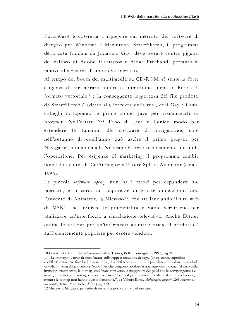 Anteprima della tesi: Macromedia Flash: strumento per lo sviluppo della narrazione interattiva nel Web, Pagina 11