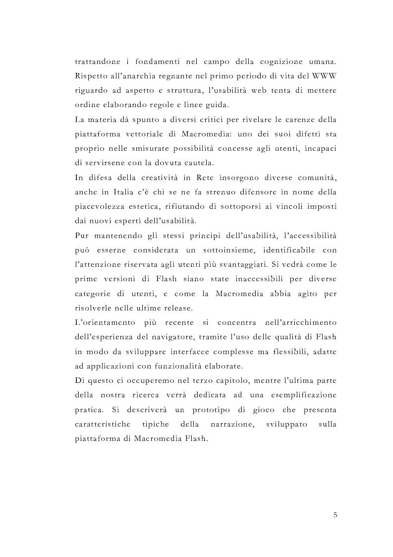 Anteprima della tesi: Macromedia Flash: strumento per lo sviluppo della narrazione interattiva nel Web, Pagina 2