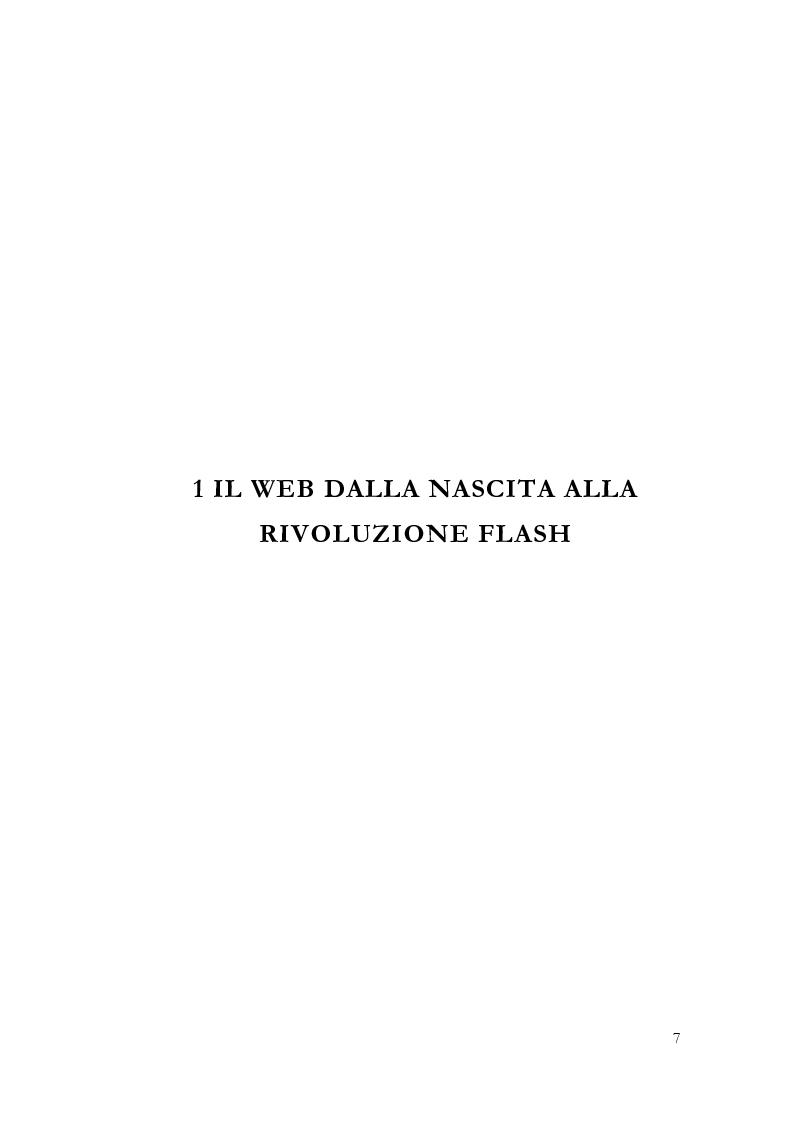 Anteprima della tesi: Macromedia Flash: strumento per lo sviluppo della narrazione interattiva nel Web, Pagina 4
