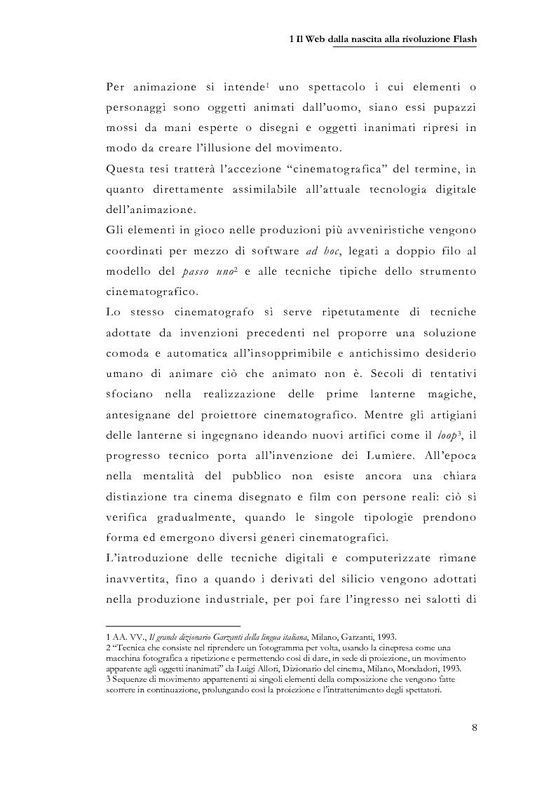 Anteprima della tesi: Macromedia Flash: strumento per lo sviluppo della narrazione interattiva nel Web, Pagina 5